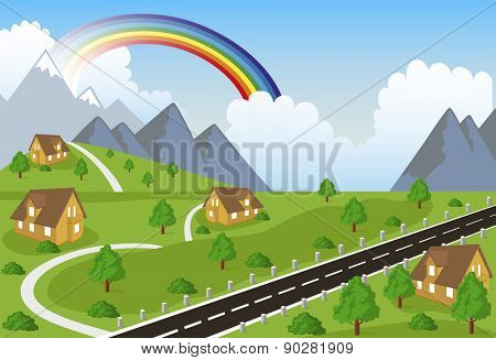 Illustration of a little town in a calm and tranquil environment in mountain