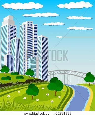 illustration of a modern city with park