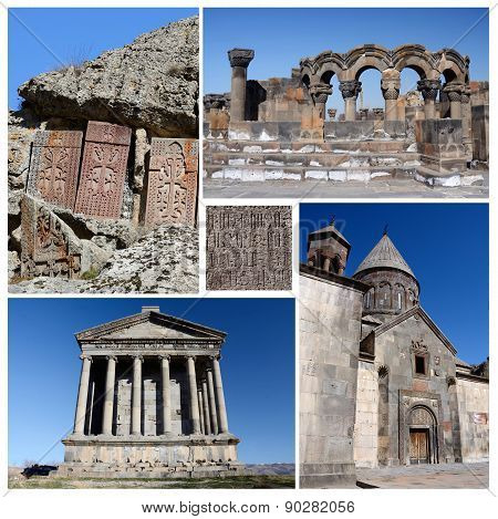 Collage Of Popular Armenia Touristic Landmarks, Unesco Heritage - Ruins Of Zvartnots Temple