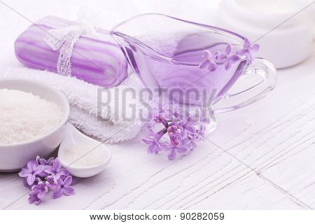 sea salt and essential oils, purple lilac. spa