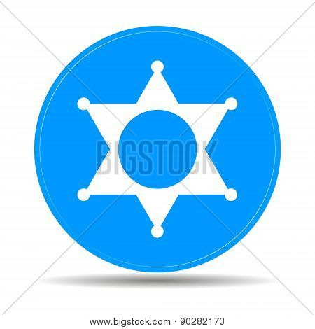 Sheriff Star. Flat Web Icon Or Sign Isolated On Blue Background