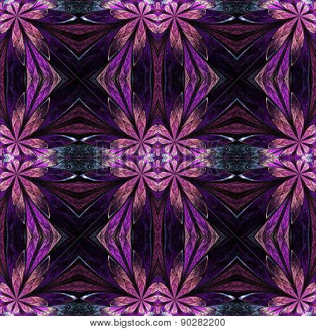 Symmetrical Flower Pattern In Stained-glass Window Style On Black. Pink And Purple Palette. Computer