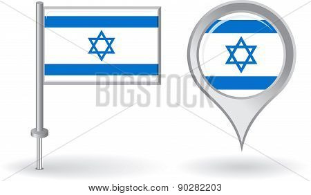 Israeli pin icon and map pointer flag. Vector