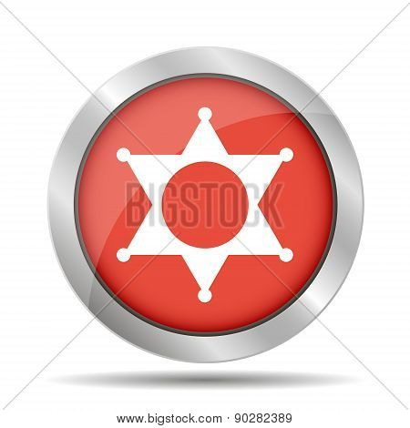 Sheriff Star. Flat Web Icon Or Sign Isolated On Red Background