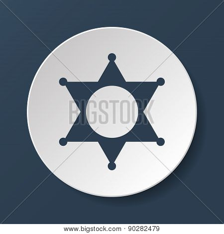 Sheriff Star. Flat Web Icon Or Sign Isolated