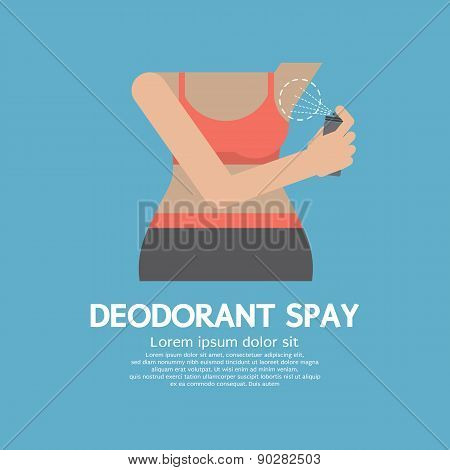 Sporty Woman Using Deodorant Spray.