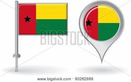 Guinea-Bissau pin icon and map pointer flag. Vector