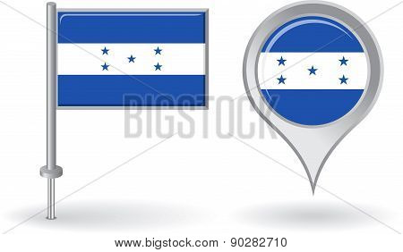 Honduras pin icon and map pointer flag. Vector