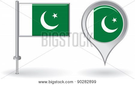 Pakistani pin icon and map pointer flag. Vector