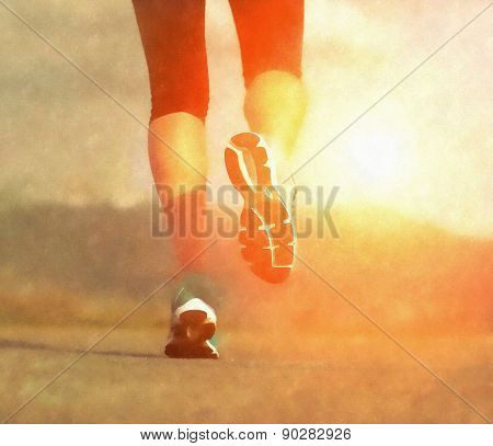 Runner athlete feet running on road under sunlight. Aquarelle art effect.
