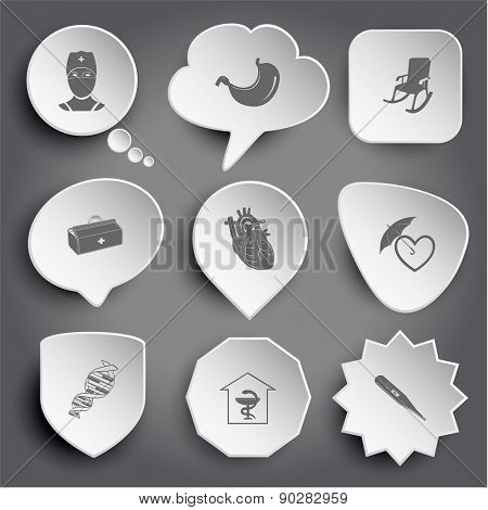 doctor, stomach, armchair, medical suitcase, heart, protection love, dna, pharmacy, thermometer. White raster buttons on gray.