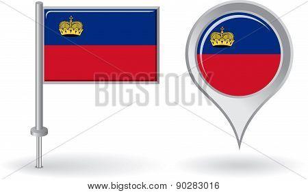 Liechtenstein pin icon and map pointer flag. Vector