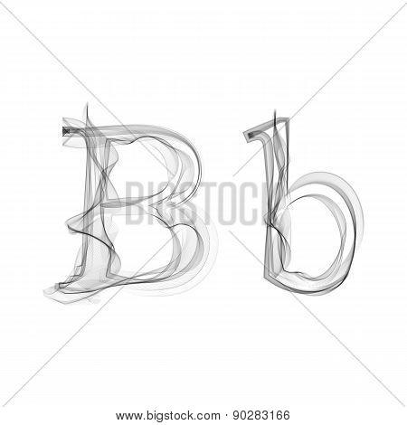 Black Smoke font. Letter B