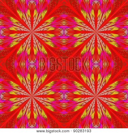 Symmetrical Pattern In Stained-glass Window Style. Red And Yellow Palette. Computer Generated Graphi