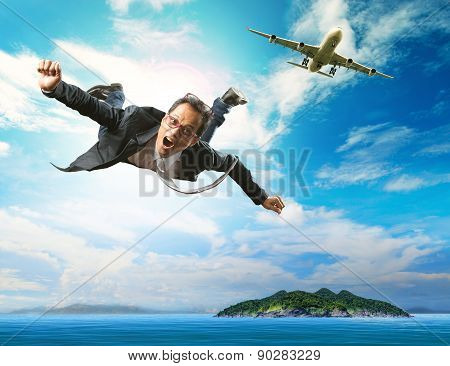 Business Man Flying From Passenger Plane Over Natural Blue Ocean Island Use For People Holiday And V