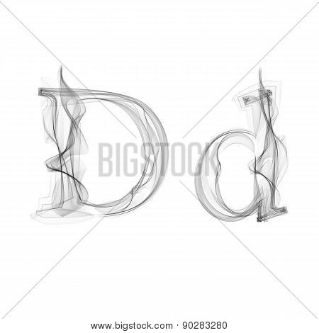 Black Smoke font. Letter D