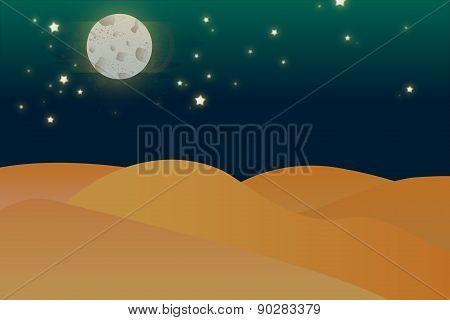Night Desert Illustration Art, Background, Blue, Cactus