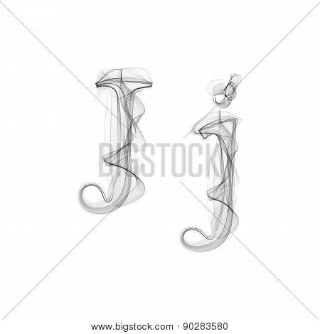 Black Smoke font. Letter J