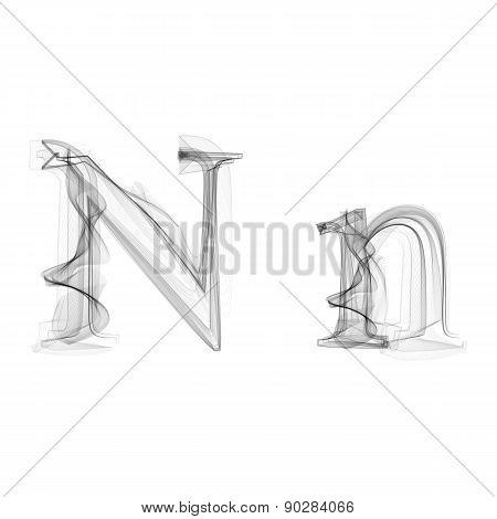 Black Smoke font. Letter N
