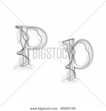 Black Smoke font. Letter P