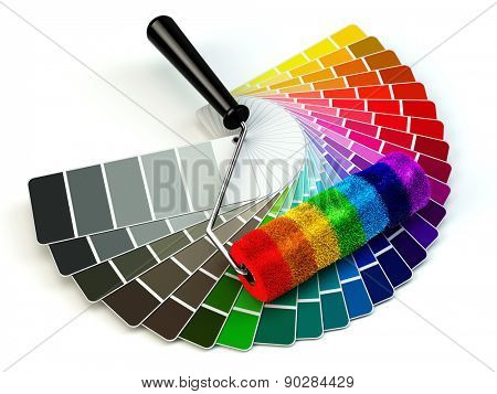 Roller brush and color guide palette in rainbow colors. 3d