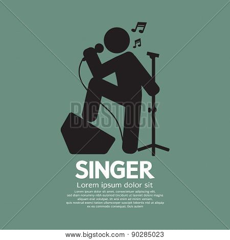 Standing Singer Black Graphic Symbol.