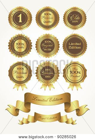 Golden awards and ribbons, vector illustration