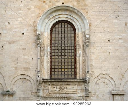 Detail St Nicholas Basilica window of elephants, Bari