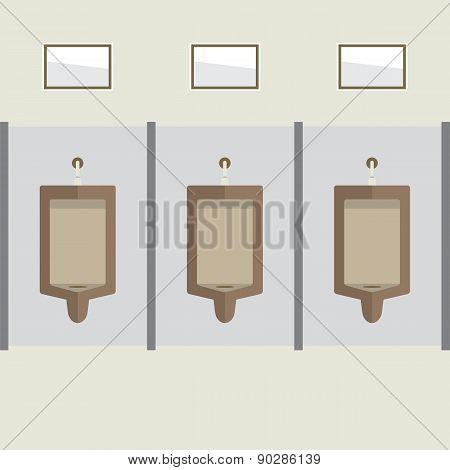 Flat Design Men's Urinal Row.