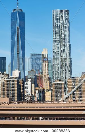 Lower Manhattan skyline view from Brooklyn Bridge in New York City
