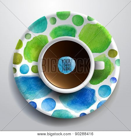 Cup of coffee and hand drawn watercolor on a saucer