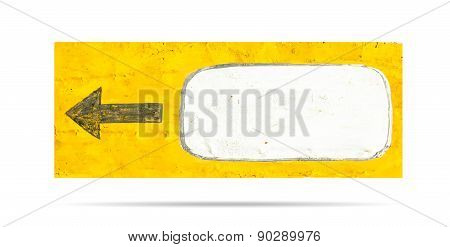 Sign Of Arrow Left And Blank White Area Isolated On White Background