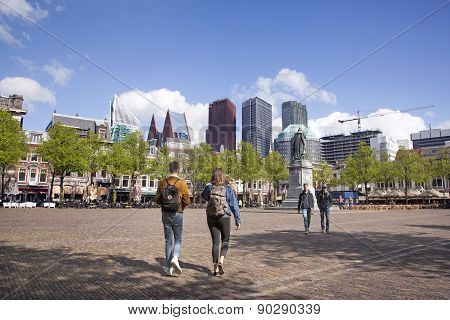 Elderly Couple Walk On Plein In The Hague On Spring Day