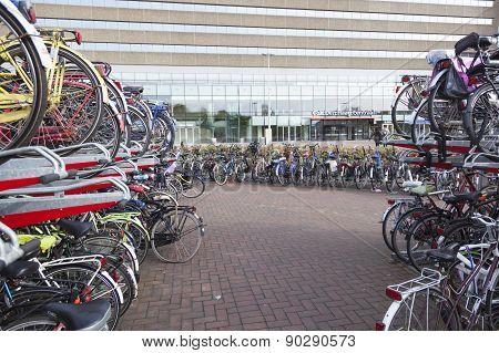 Many Bicycles In Front The Hague Central Station