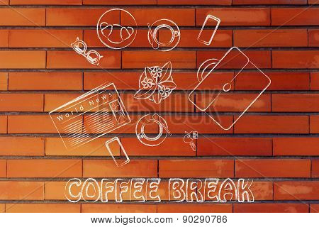 Business Lunch Or Coffee Break: Table With Newspaper, Coffee, Croissants And Briefcase