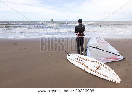 Wind Surfing On North Sea Near Den Haag