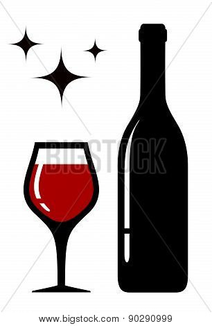 wine glass and bottle with star