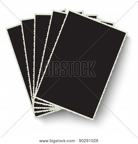 Heap Of Vector Old Photo Frames Isolated On White Background