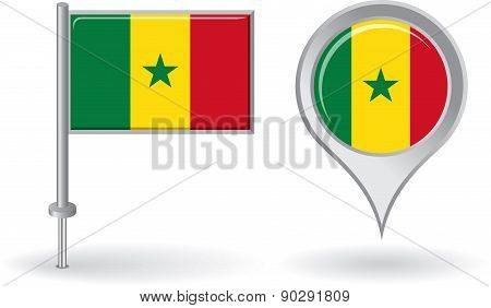 Senegalese pin icon and map pointer flag. Vector