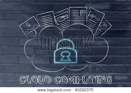 Cloud Computing, Funny Documents On Top Of A Cloud With Security Lock