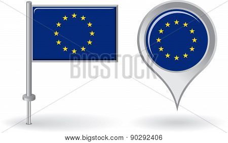 European Union pin icon and map pointer flag. Vector