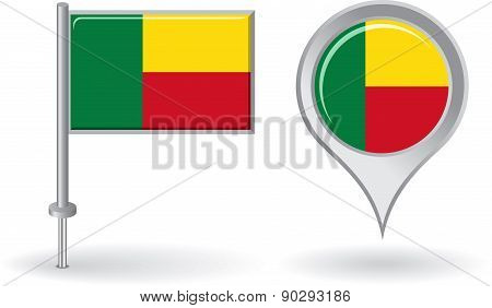 Benin pin icon and map pointer flag. Vector
