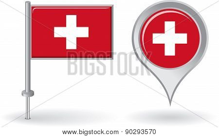 Swiss pin icon and map pointer flag. Vector