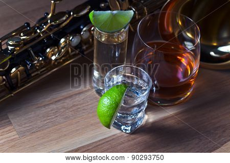 Saxophone And Drinks