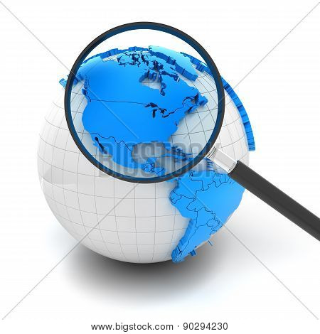 Globe with magnifying glass over north america and USA