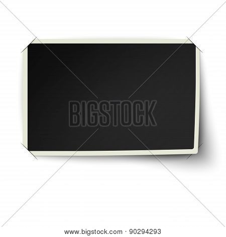 Retro Straight Edge Photo Frame With One Not Fixed Corner In Photo Album Isolated On White Backgroun