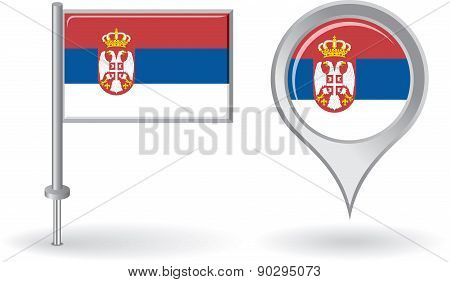 Serbian pin icon and map pointer flag. Vector
