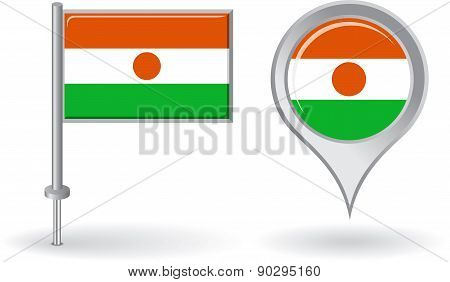 Niger pin icon and map pointer flag. Vector