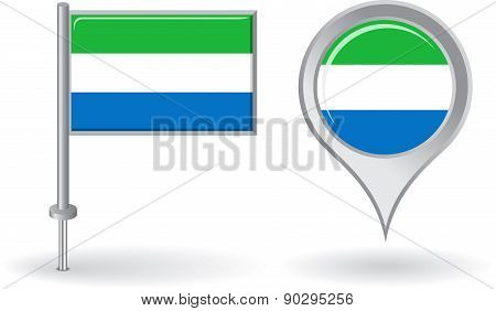 Sierra Leone pin icon and map pointer flag. Vector
