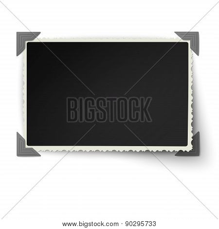 Retro Not Straight Edges Photo Frame With One Not Fixed Corner In Vintage Photo Corners Isolated On